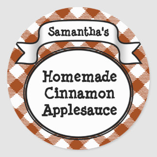 Custom Cinnamon / Applesauce Canning Jar Label Round Sticker
