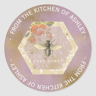 Custom Circular Homemade Honey Bee Lilac Gold Classic Round Sticker