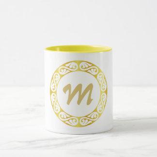 Custom circular name initial monogram mug
