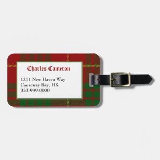 Custom Clan Cameron Tartan Plaid Luggage Tag