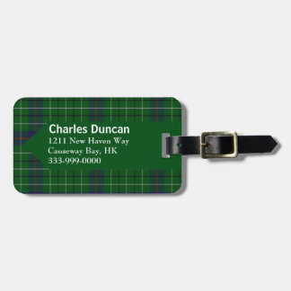 Custom Clan Duncan Tartan Plaid Luggage Tag