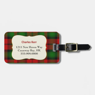 Custom Clan Kerr Tartan Plaid Luggage Tag