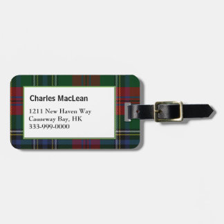 Custom Clan MacLean Tartan Plaid Luggage Tag