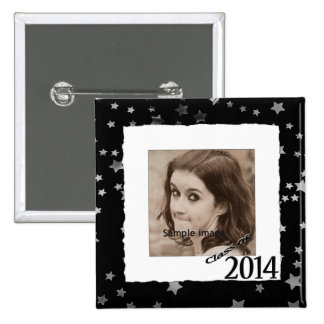 Custom Class of 2014 Graduation Photo Frame Stars 2 Inch Square Button