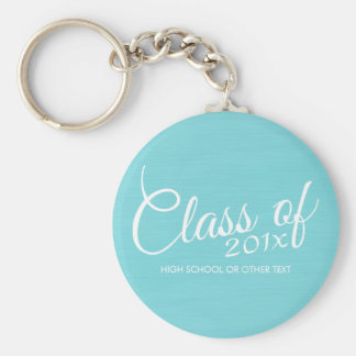 Custom Class of for Graduation or Reunion Aqua Basic Round Button Keychain