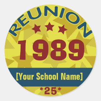 Custom Class Reunion Stars Classic Round Sticker