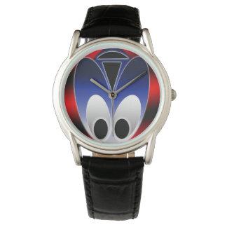 Custom Classic Black Leather Watch-Alien Bug Watch