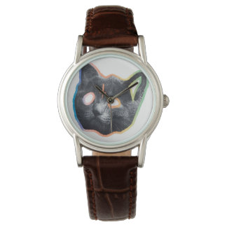 Custom Classic Brown Leather Cat Watch