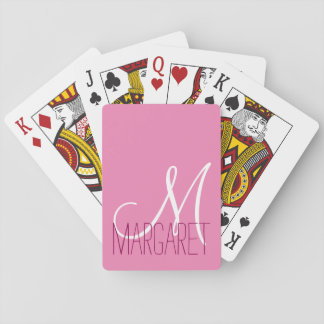 Custom Classic Pink Monogram Playing Cards