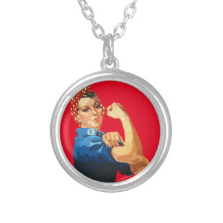 Custom Classic Rosie The Riveter Silver Plated Necklace