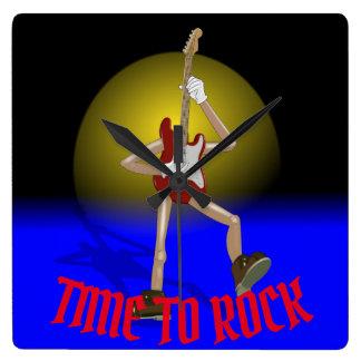 Custom clock. Time to rock. Square Wall Clock