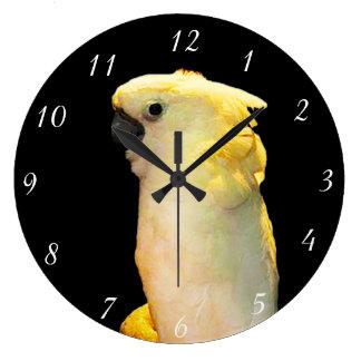 Custom cockatoo bird posing in the night clocks