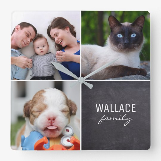 Custom Collage 4 Photos, Personalized, chalked Clocks