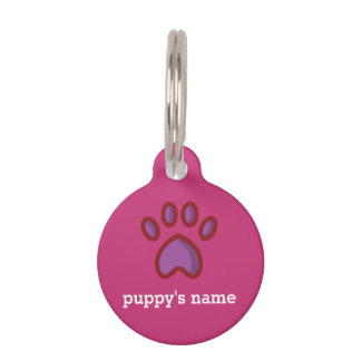 Custom collar tag for dogs bright pink and orange