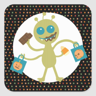custom color alien cute monster Halloween candy Square Stickers