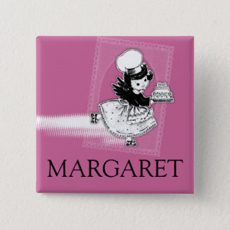 Custom color angel cake bakery name badge 2 inch square button