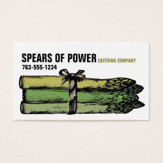 Custom color asparagus spears chef catering business card