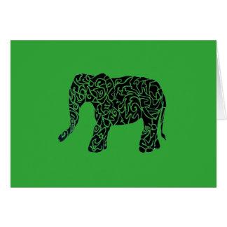 Custom Color aText Tribal Elephant Greeting Card