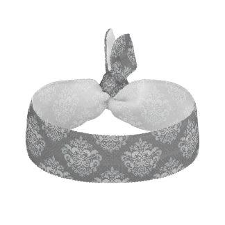 Custom Color Background Grey Damask Pattern Elastic Hair Tie