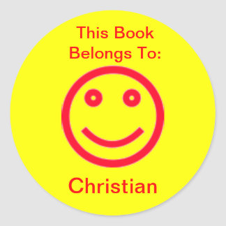 Custom Color Background Happy Face Book Sticker
