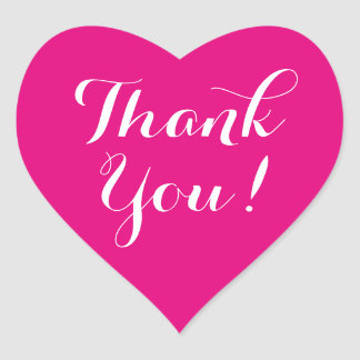 Custom color background heart thank you stickers