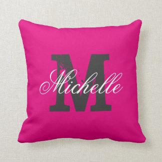 Custom color background monogram throw pillow
