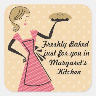 custom color bakery retro baking pie girl square sticker