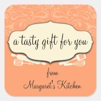 Custom color baking utensils gift tag label square sticker