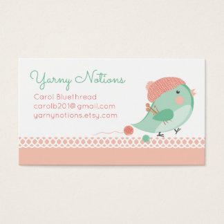 Custom color bird knitting needles crochet hooks business card