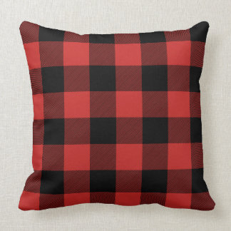 Custom Color Black and Red Buffalo Check Plaid Throw Pillow