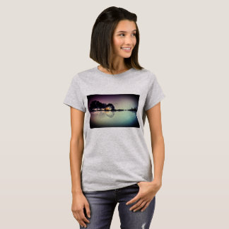 Custom Color Black Guitar Water Reflection T Shirt
