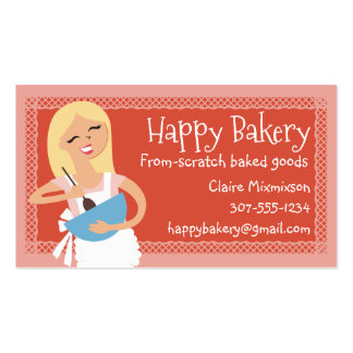 Custom color blonde woman mixing bowl bakery business card