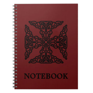 Custom Color Burgundy Celtic Knots/Cross Notebook