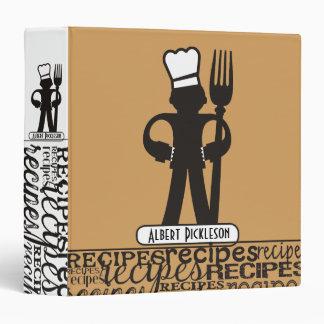 Custom color chef big fork recipe cookbook binder