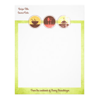 Custom color cooking main dish recipe letterhead