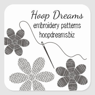 Custom color cross stitch embroidery flowers square sticker