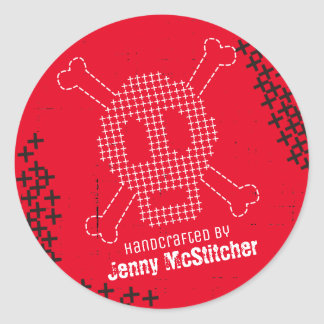 Custom color cross stitch embroidery skull bones round sticker
