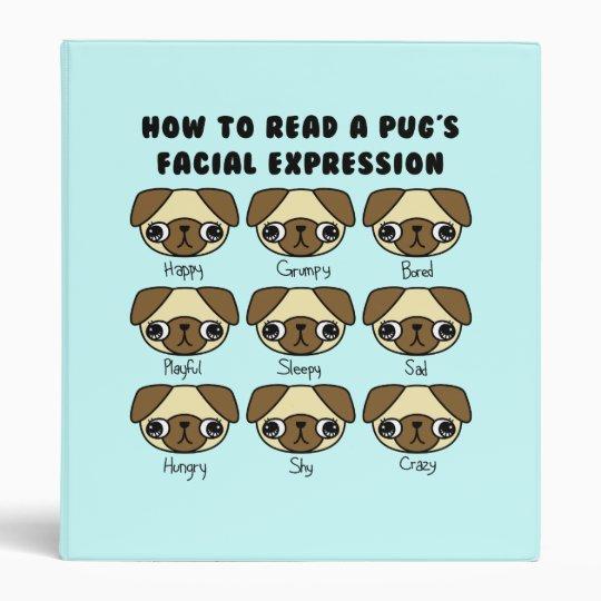CUSTOM COLOR Cute Kawaii Cartoon Pug Funny Binder