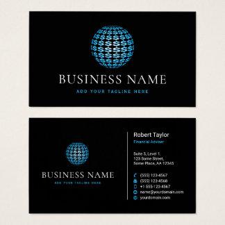 Custom Color Dollar Signs Sphere Financial Adviser Business Card