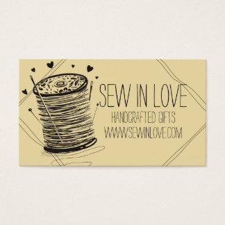 Custom color doodle spool of thread sewing pins business card