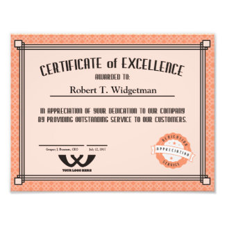 Custom color employee recognition excellence cert photo print