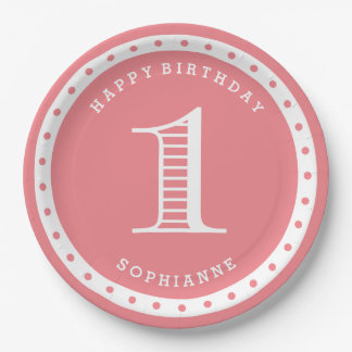 Custom Color First Birthday Paper Plates