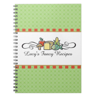 Custom color fish fruit vegetable chef catering notebooks