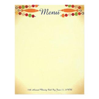 Custom color fish vegetable kebab menu letterhead