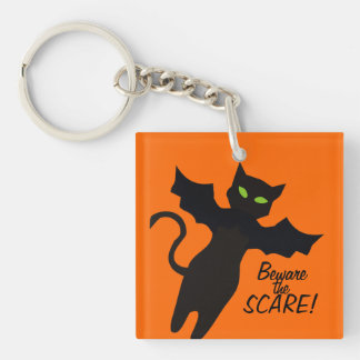 Custom color flying cat bat halloween super hero acrylic keychain