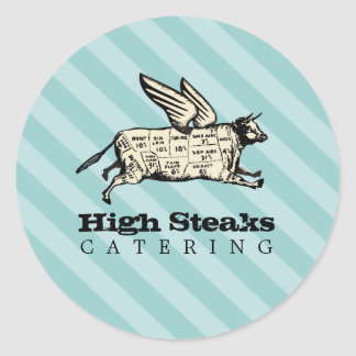 custom color flying cow beef cuts chef catering classic round sticker