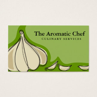 Custom color garlic cloves chef catering biz card
