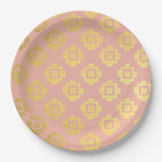 Custom Color Hipster Gold Block Print Pink Paper Plate