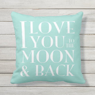 >Custom color< I love you to the moon and back Throw Pillow