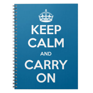 Custom Color Keep Calm and Carry On Spiral Notebook